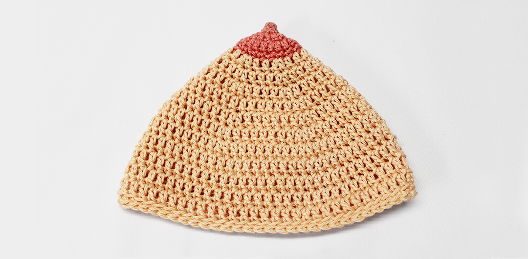 Breastfeeding hat - free crochet pattern boob hat