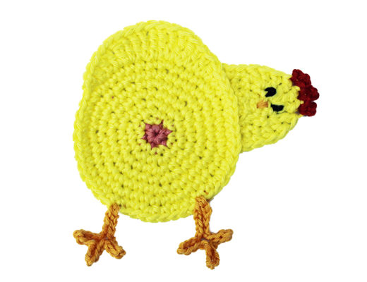 chicken butt coaster crochet white