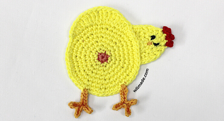 funny peeking chicken butt coasters - free crochet pattern for easter