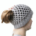 Puff stitch bun hat crochet pattern