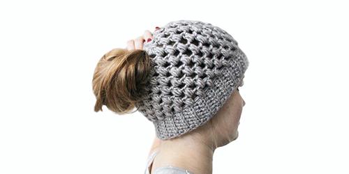 Puff stitch bun hat crochet pattern