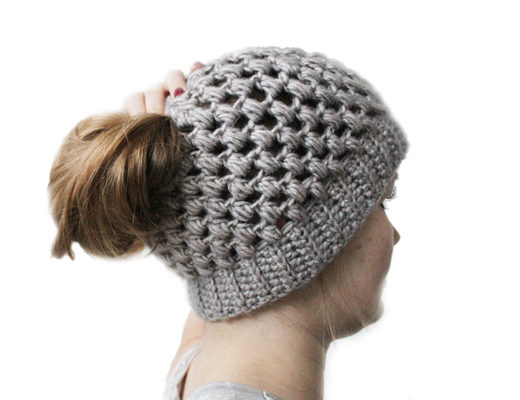 puff stitch bun hat