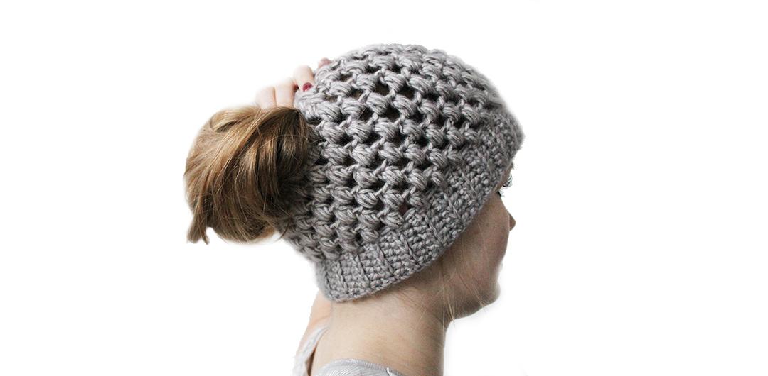 Puff Stitch Bun Hat Free Crochet Pattern