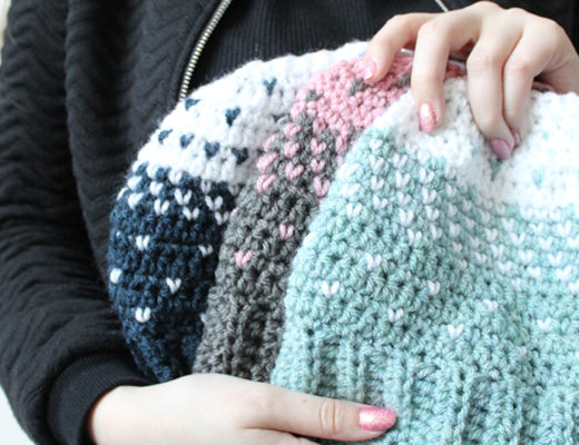Lovely heart bun hats crochet