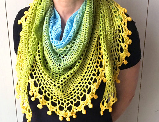 katia spring rainbow free crochet shawl pattern