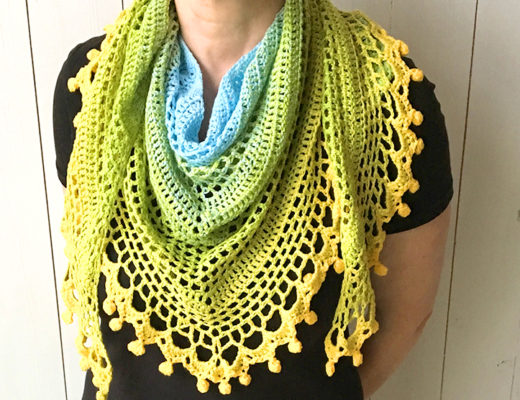 pom pom happiness shawl free crochet pattern