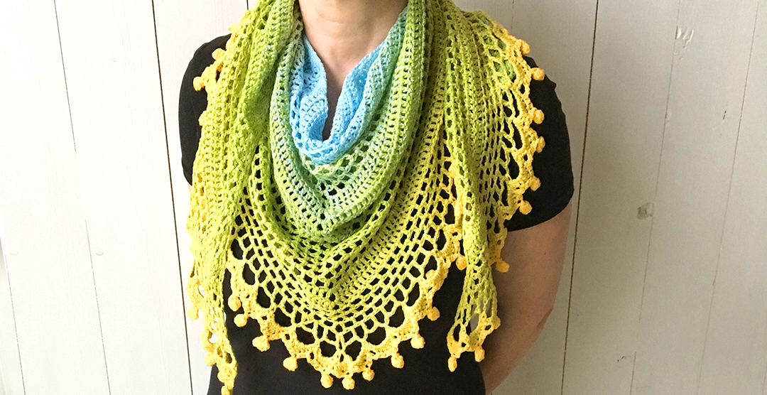 pom pom happiness shawl - free crochet triangle shawls patterns