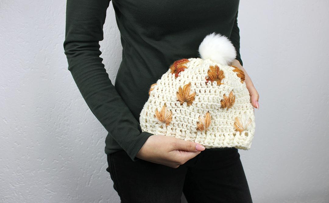 Leafly autumn hat free crochet pattern