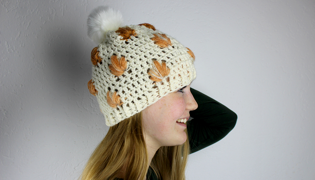 Leafly autumn hat free crochet pattern