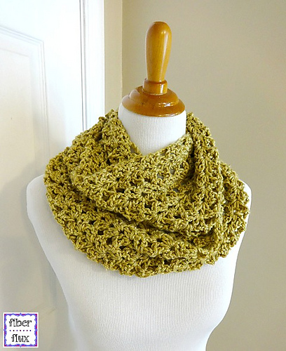 free crochet shawls for spring gold leaf infinity scarf by Fiber Flux Jennifer Dickerson