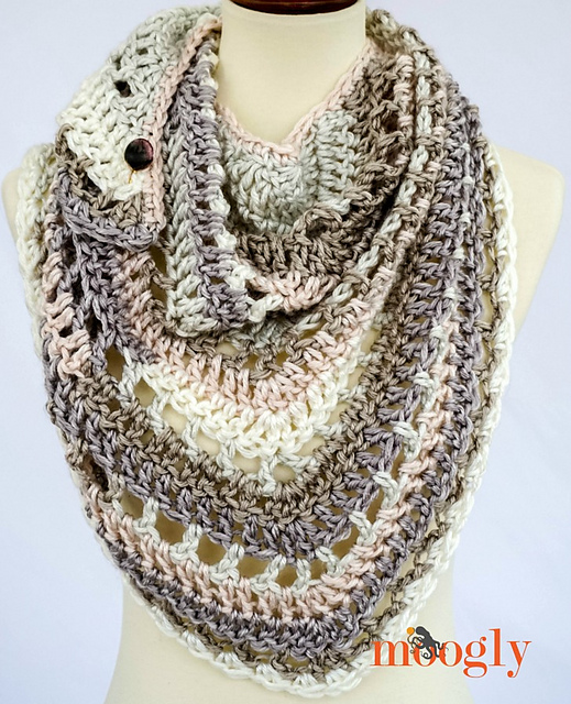 Brown Butter Shawl by Tamara Kelly - free crochet triangle shawls patterns