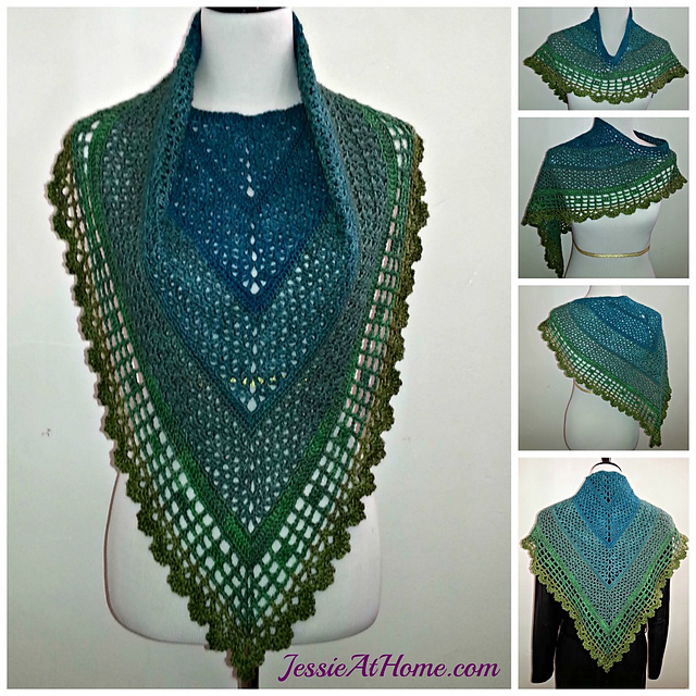 Juliette Shawl by Jessie Rayot - free crochet triangle shawls patterns