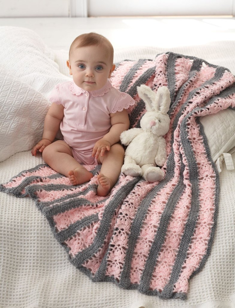 Lacy Stripes Blanket in Bernat Softee Baby Solids - free baby crochet patterns by bernat design studio