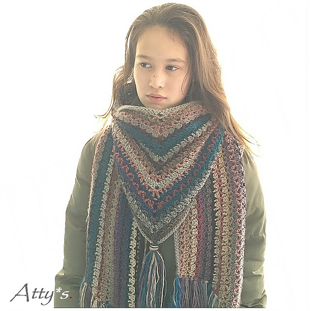 Wanderlust Scarf by Atty van Norel - free crochet triangle shawls patterns