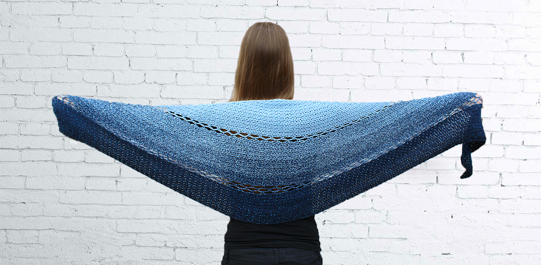 Joyful Josie Shawl made with Durable Colorful - free crochet round shawl pattern