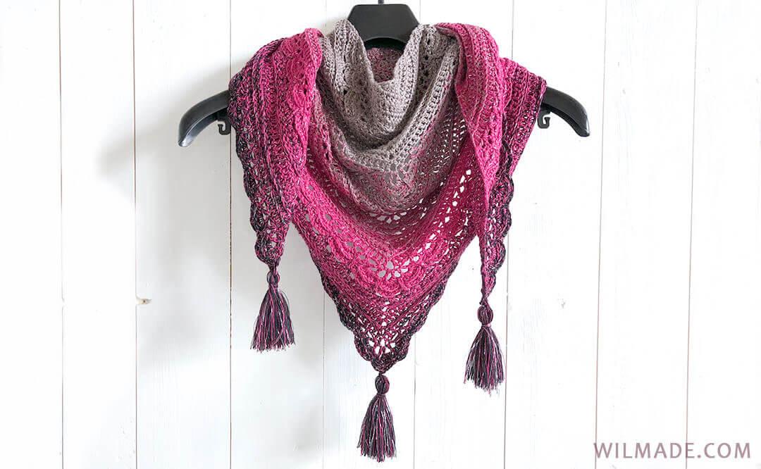Ana Lucia Sjaal - gratis haakpatroon voor een driehoekige sjaal door Wilma Westenberg van Wilmade