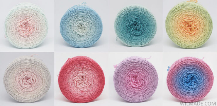 Gradient yarn cake - hand dyed Wollelfe yarn from Etsy