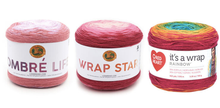 Gradient yarn cakes plied - Lionbrand Ombre Life yarn, Lionbrand yarn Wrap Star, Red Heart It's a Wrap Rainbow yarn