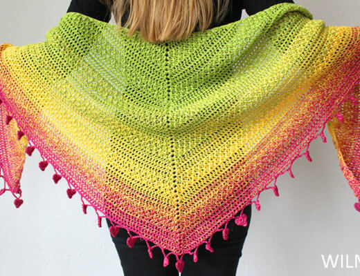 Lovely Luisa Shawl back view - free crochet shawl pattern by Wilmade