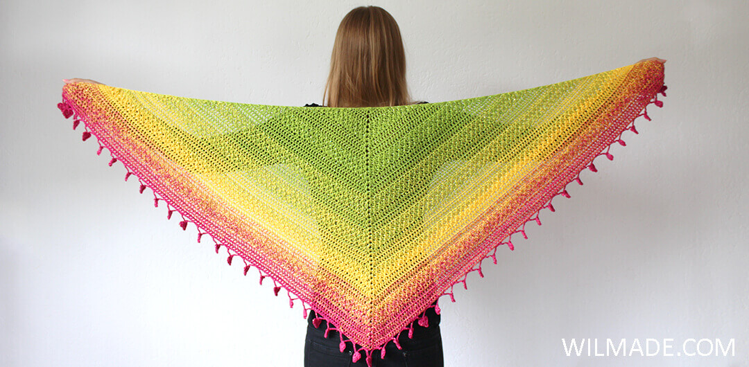 Lovely Luisa Shawl front view - free crochet shawl pattern by Wilmade