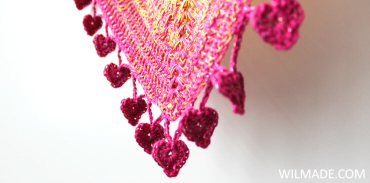 Lovely Luisa Shawl heart border - free crochet shawl pattern by Wilmade