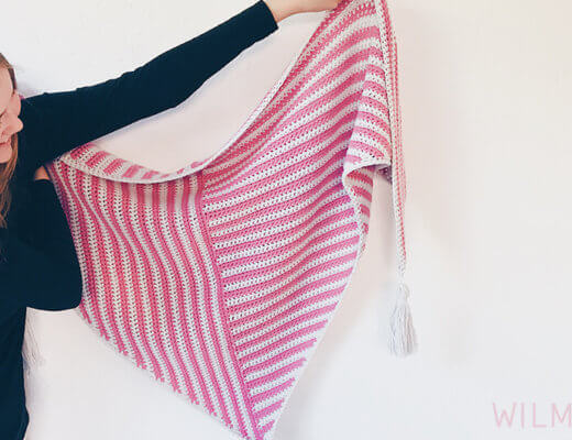 Stripe Me Shawl made with Feels Like Butta - triangle crochet shawl pattern