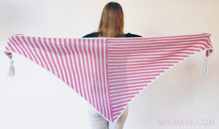 Stripe Me Shawl made with Feels Like Butta yarn - triangle crochet shawl pattern