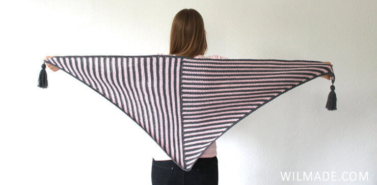 Stripe Me Shawl - triangle crochet shawl pattern