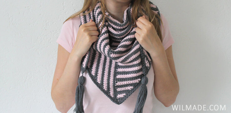 Stripe Me Shawl - triangle crochet shawl pattern by Wilmade