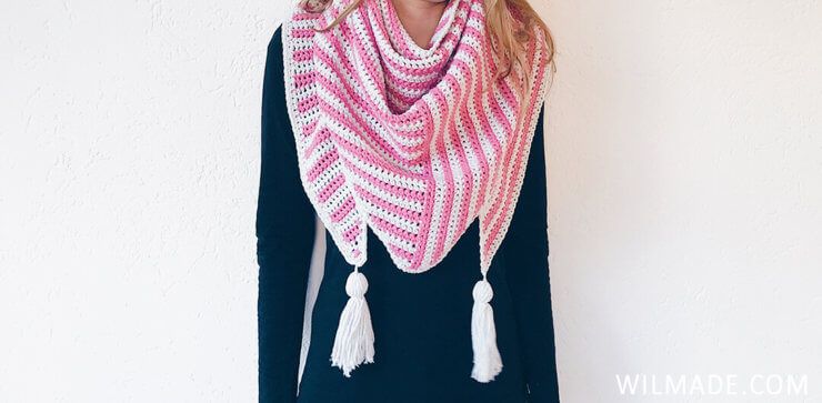 Wearing my Stripe Me Shawl made with Feels Like Butta - triangle crochet shawl pattern
