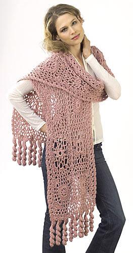 Flower Motif Wrap by Kim Guzman and Caron - crochet shawls for summer