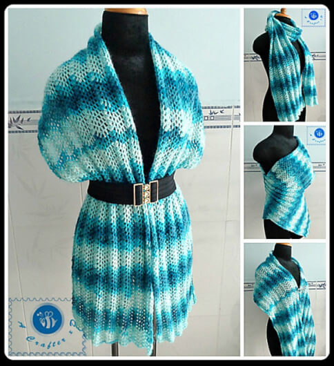 Ocean Tides Wrap by Maz Kwok - crochet shawls for summer
