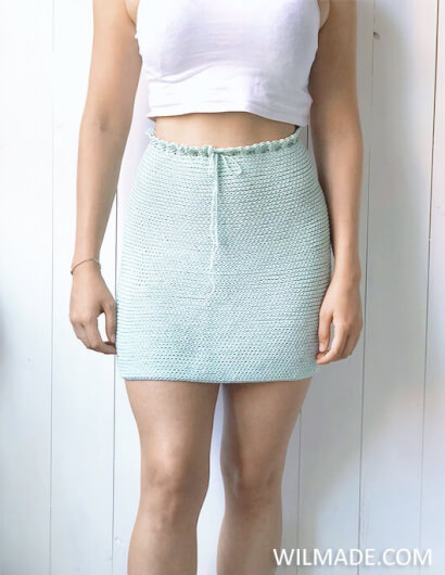 Reversible crochet skirt - free crochet pattern front - Katia Cotton Cashmere