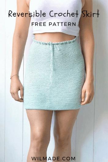 Reversible crochet skirt - free crochet pattern - pinterest pin