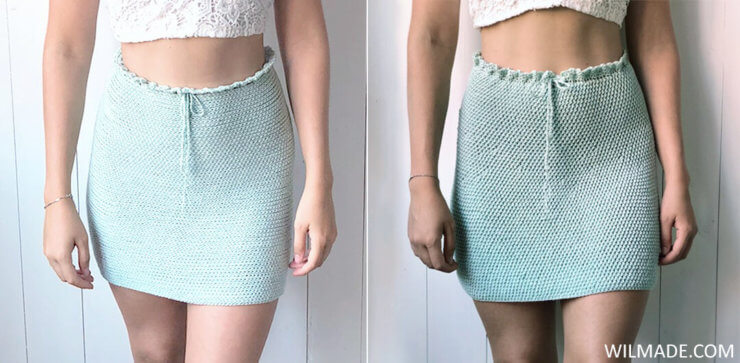 Reversible crochet skirt - free crochet pattern two different stitches Katia Cotton Cashmere copy