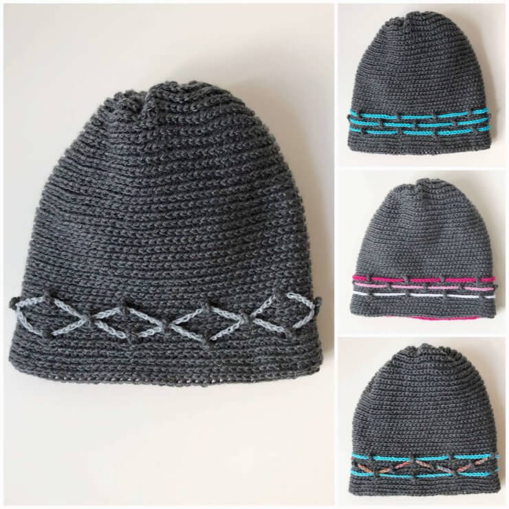 Crochet hat -Milestone Journey hat - examples of designs