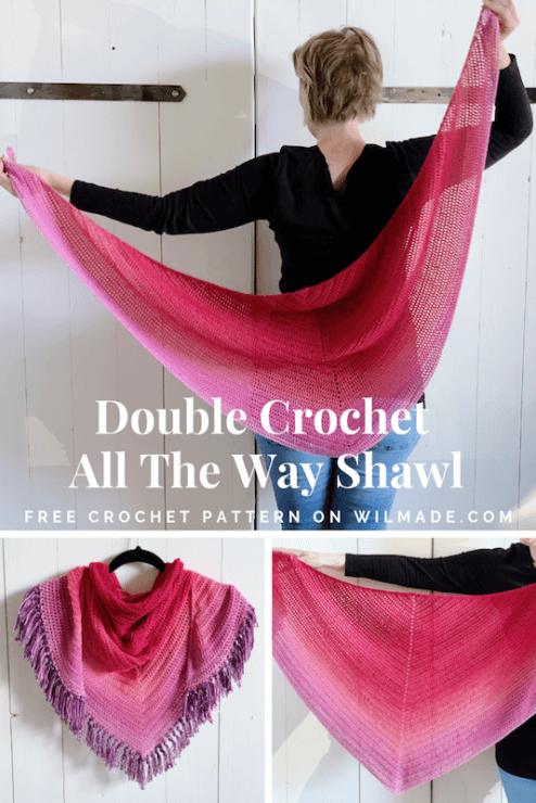 Double Crochet All The Way Shawl - simpele gehaakte sjaal - gratis haakpatroon met Scheepjes Whirl - pinterest pin