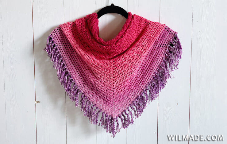 Double Crochet All The Way Shawl - easy crochet shawl pattern - Folded