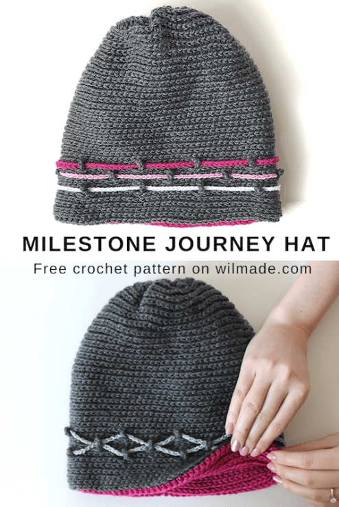 Milestone Journey Hat - free crochet hat pattern - pinterest pin