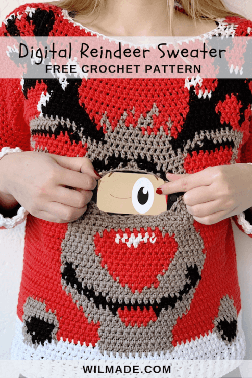 Digital Reindeer Christmas Sweater - free crochet pattern - pinterest pin