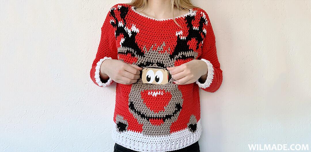 Digital Reindeer Christmas Sweater - free crochet pattern