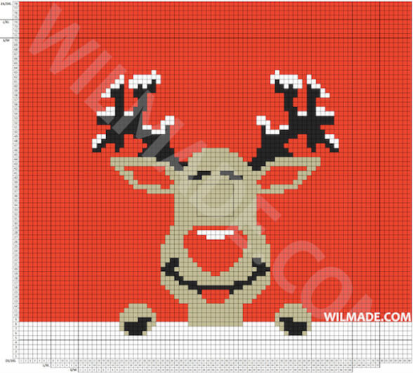 Gehaakte kersttrui - rendier met bewegende ogen - gratis haakpatroon
