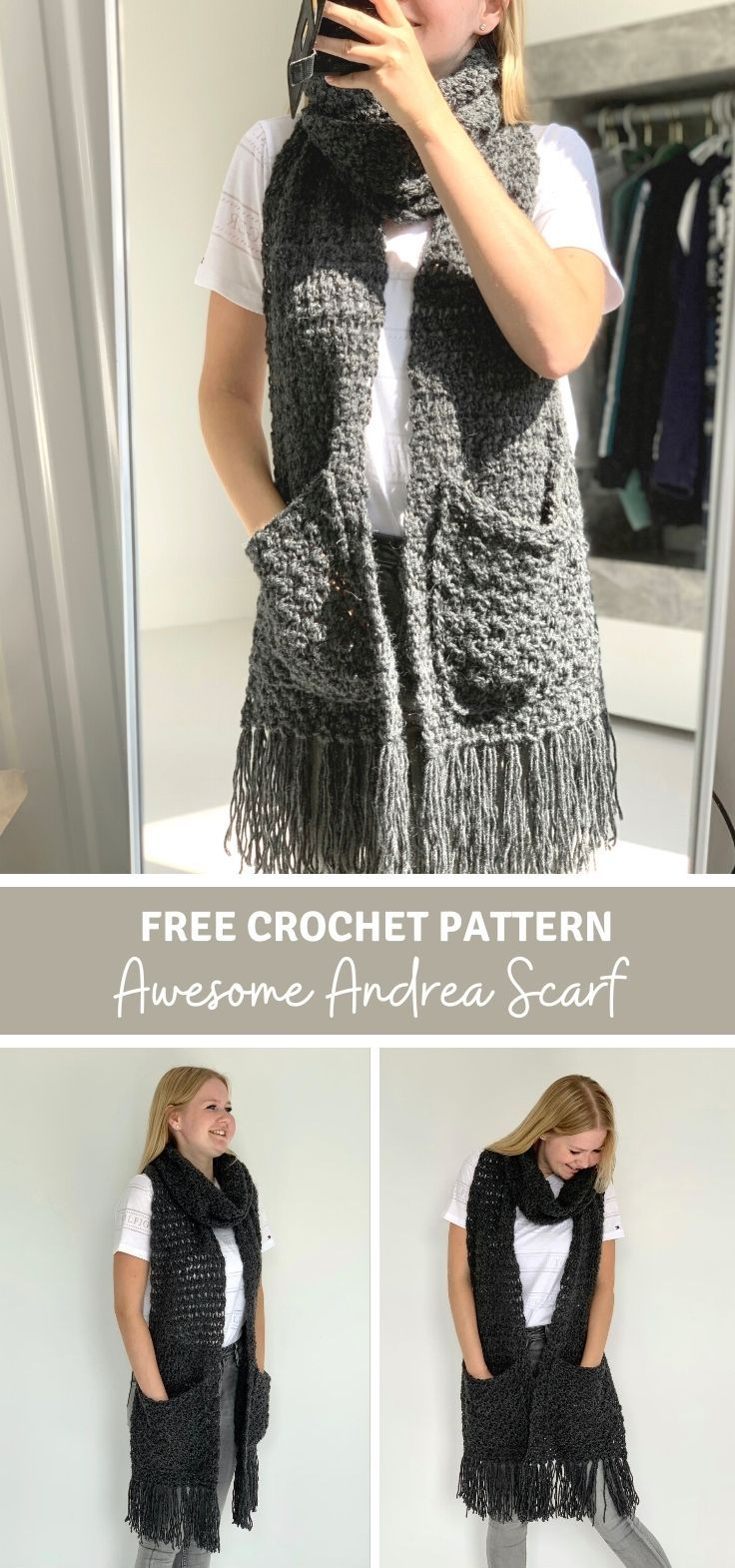 Awesome Andrea Scarf - free crochet scarf pattern with pockets- pinterest pin