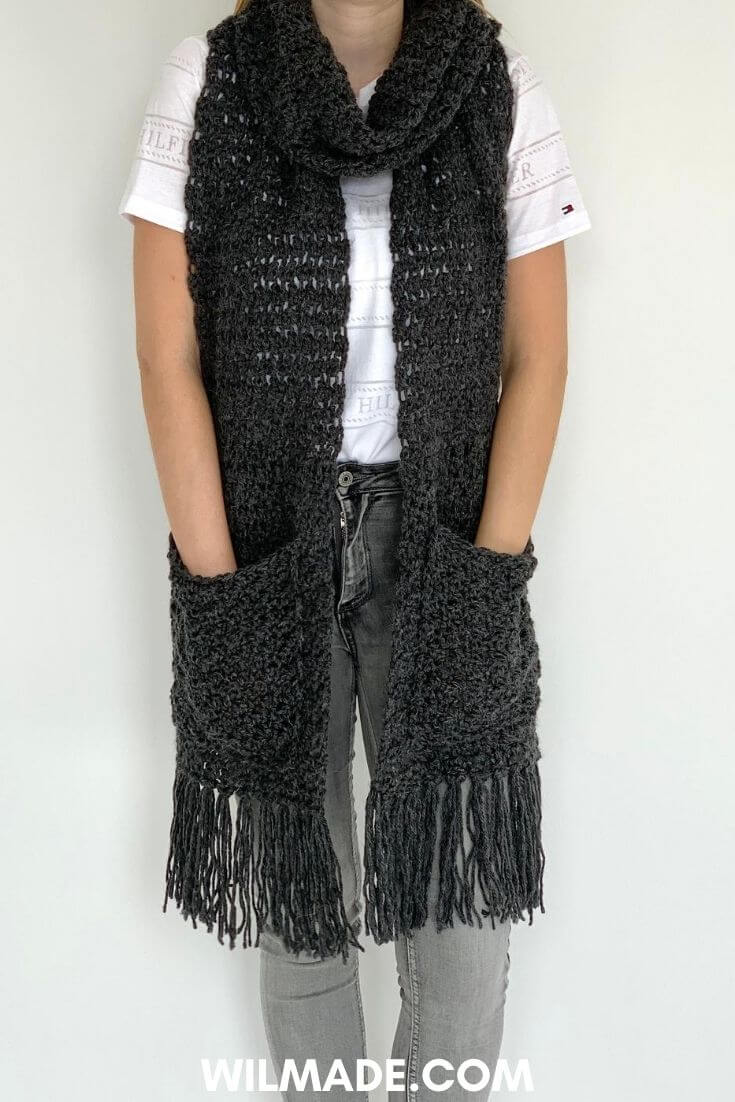 Awesome Andrea Scarf - free crochet scarf pattern with pockets