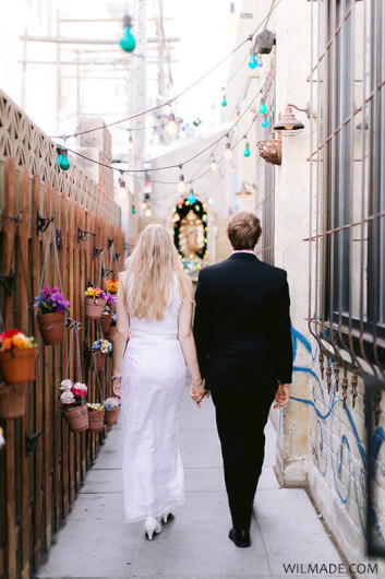 Elopement Las Vegas - crochet wedding dress - downtown Las Vegas boho style