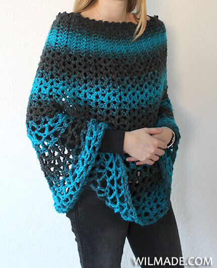 Perfect Gift Poncho - free poncho crochet pattern - Wilma