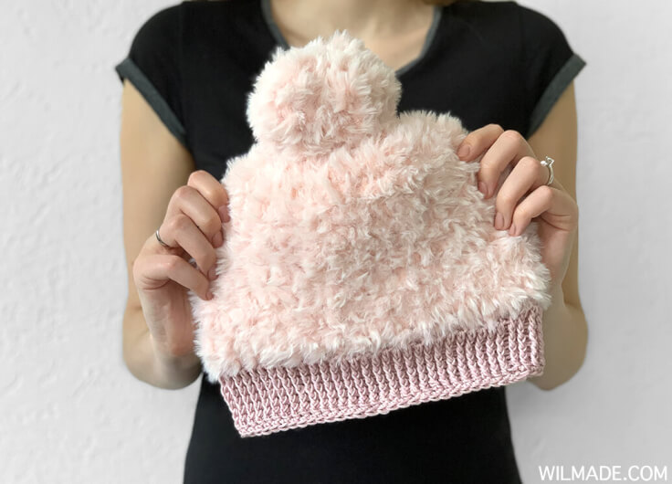 Crochet Winter Hat with fluffy yarn - free crochet pattern by wilmade