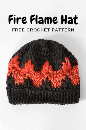 Fire Flame Hat - free crochet hat pattern for kids toddlers tweens adults