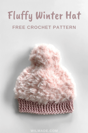 Fluffy Crochet Winter hat - free crochet hat pattern - Katia polar go for faux Pinterest pin