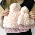 Fluffy crochet winter hat for adult, kids, toddlers and babies made with Katia Polar go for faux